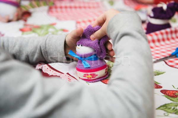 Boldog gyerek kicsi gyermek tart karácsony Stock fotó © O_Lypa