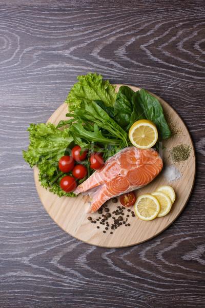 Slice of raw salmon Stock photo © O_Lypa