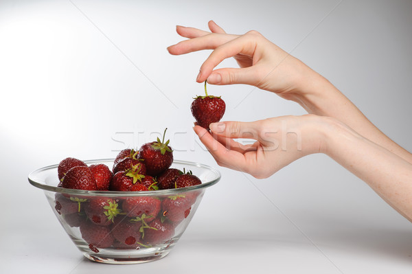 Glass Bowl Of Strawberries. Stock photo © O_Lypa
