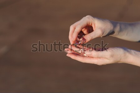 Ice cubes in human hands Stock photo © O_Lypa
