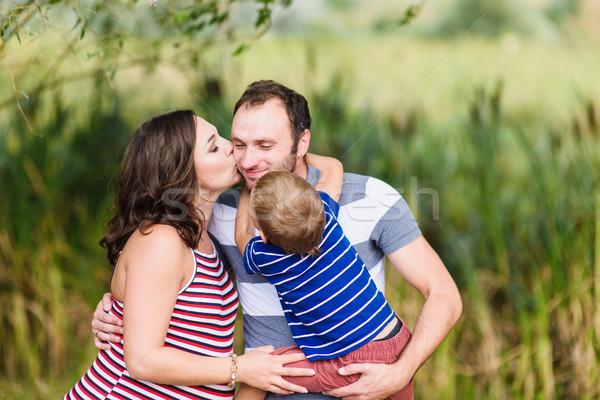 счастливым беременна семьи три ожидание ребенка Сток-фото © O_Lypa