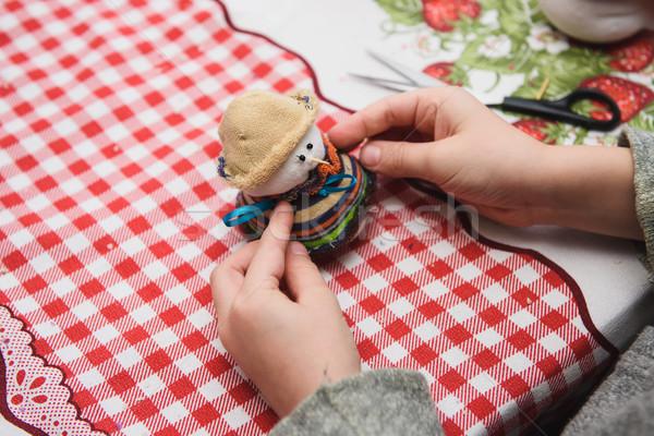 Happy kid doing craft Stock photo © O_Lypa