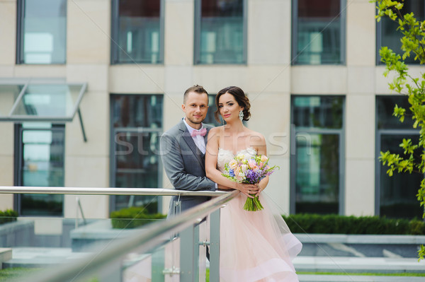Portrait of a happy newlyweds Stock photo © O_Lypa