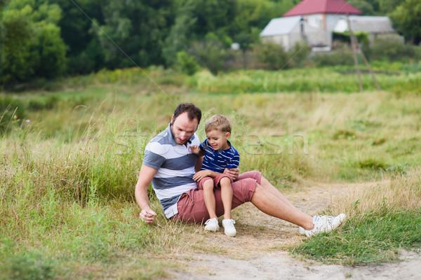 Apa fia idő együtt apa játszik gyermek Stock fotó © O_Lypa