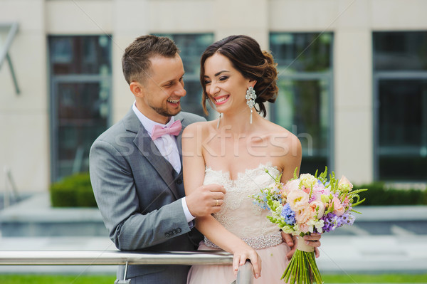 Portrait of a happy newlyweds Stock photo © O_Lypa