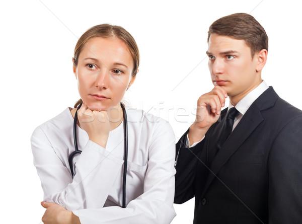 Medische arts advocaat denken oplossen probleem Stockfoto © Obencem