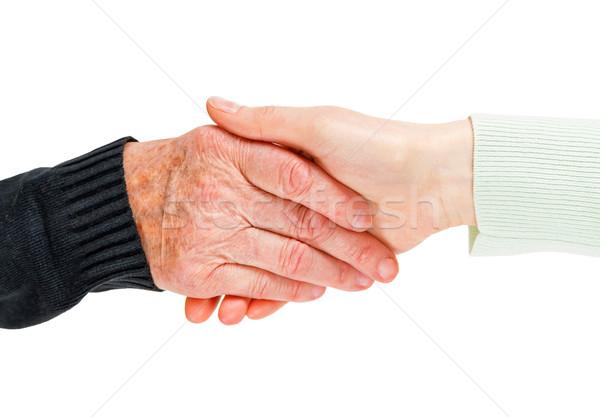 Helpende hand vinden verzorger hand vrouwen Stockfoto © Obencem