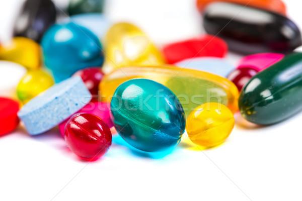 Kleurrijk pillen foto geïsoleerd witte Stockfoto © Obencem