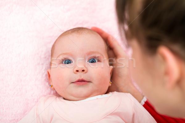 Aanbiddelijk baby portret weinig maanden Stockfoto © Obencem
