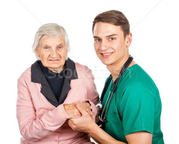 Ouderen zorg behulpzaam medische assistent Stockfoto © Obencem