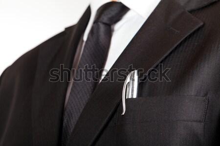 Elegante zakenman jonge zwart pak Stockfoto © Obencem