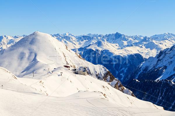 Winter landschap mooie alpen sport natuur Stockfoto © Obencem