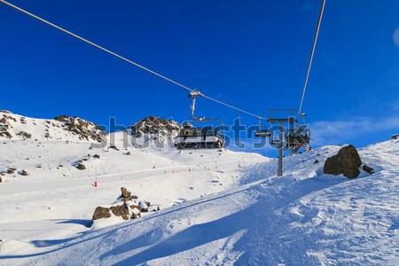 Ski lift winter landschap alpen sport Stockfoto © Obencem
