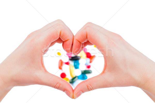 Pillen foto hand handen medische Stockfoto © Obencem