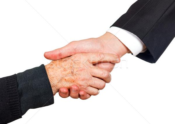 Handdruk jonge zakenman hand Stockfoto © Obencem
