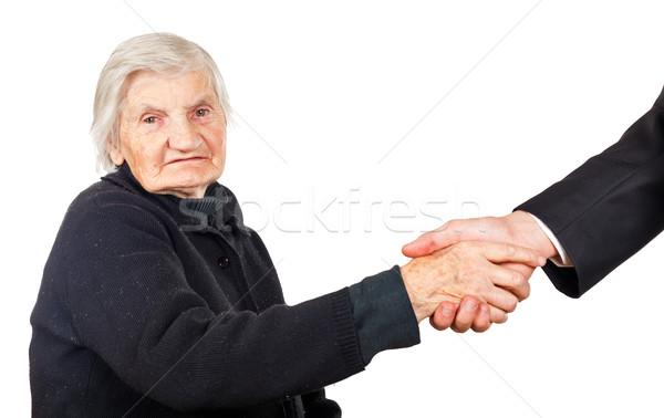 Handen schudden advocaat vrouw hand man Stockfoto © Obencem