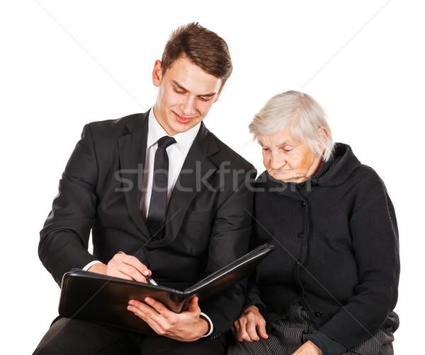 Jonge zakenman foto vrouw handen Stockfoto © Obencem