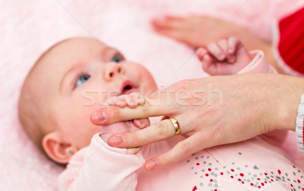 Stock fotó: Imádnivaló · baba · közelkép · kevés · hónapok · öreg