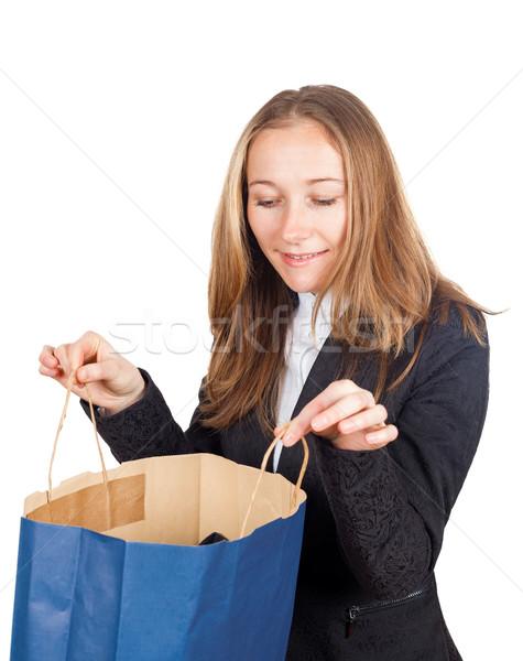 Winkelen gelukkig jonge zakenvrouw Stockfoto © Obencem
