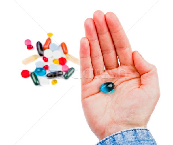 Pillen hand foto kleurrijk medische Stockfoto © Obencem