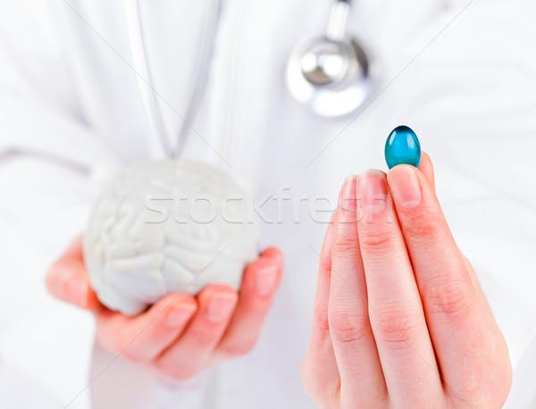 Capsula primo piano foto blu gel medico Foto d'archivio © Obencem