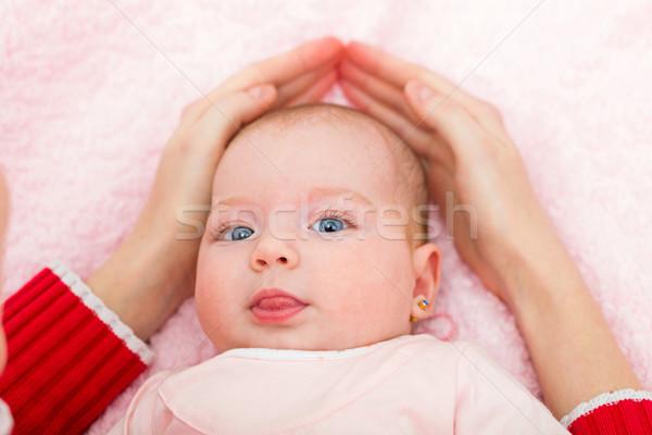 Aanbiddelijk baby portret familie kinderen liefde Stockfoto © Obencem
