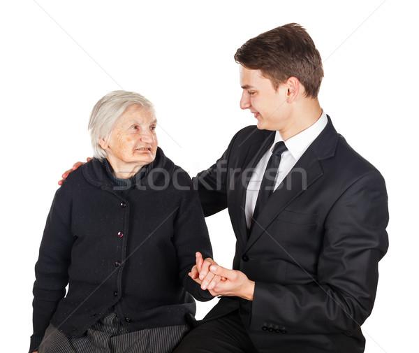 Jonge zakenman foto vrouw hand Stockfoto © Obencem