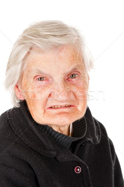 Portret witte geïsoleerd vrouw gelukkig Stockfoto © Obencem