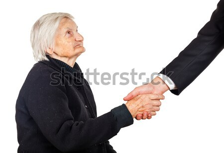 Händeschütteln Rechtsanwalt Frau Hand Mann Stock foto © Obencem