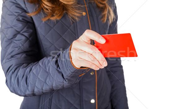 Betaling creditcard jonge zakenvrouw salaris vrouw Stockfoto © Obencem