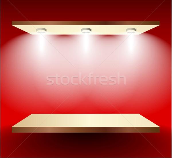 Shelf with lights  on red wall Stock photo © obradart