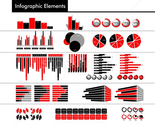 インフォグラフィック 黒 赤 グレー 色 異なる ストックフォト © obradart