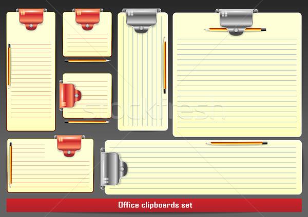 Notepad kalemler şablonları şeffaf gölgeler örnek Stok fotoğraf © obradart