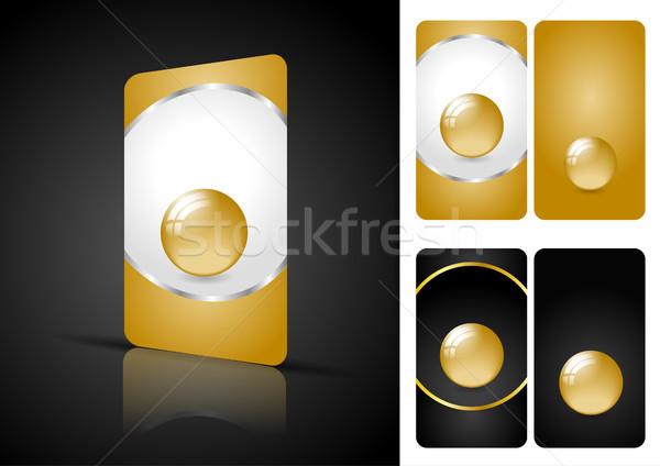 Ocher and black business cards Stock photo © obradart