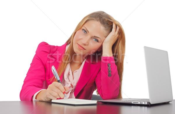 Cansado empresária retrato belo jovem mulher de negócios Foto stock © ocskaymark