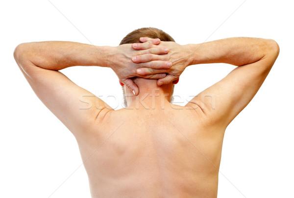 Stresujące życia zdjęcie człowiek dotknąć głowie Zdjęcia stock © ocskaymark