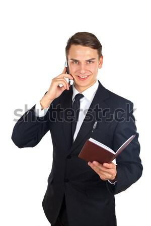 вызова портрет бизнесмен говорить телефон изолированный Сток-фото © ocskaymark