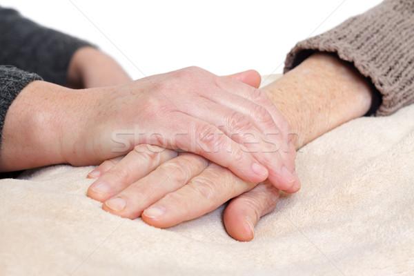 Atendimento domiciliar mulher idoso mãos isolado Foto stock © ocskaymark