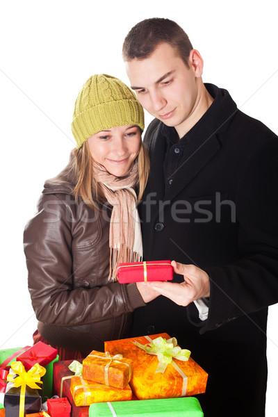 счастливым пару подарок рук улыбка Сток-фото © ocskaymark