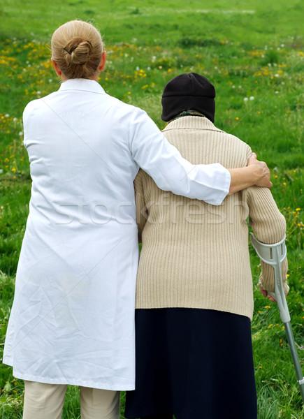 Foto stock: Idoso · vida · caminhada · jardim · médico