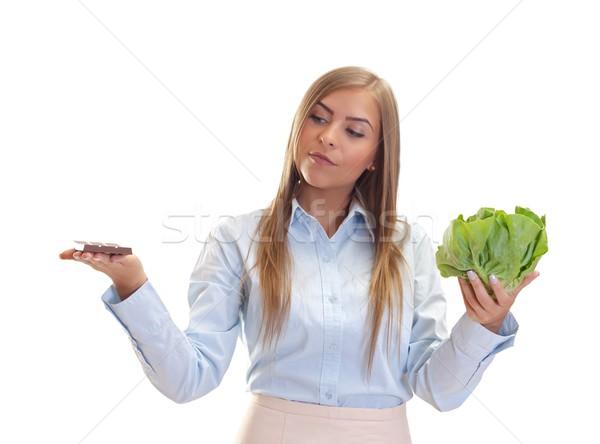 выбора красивая женщина диета счастье продовольствие Сток-фото © ocskaymark