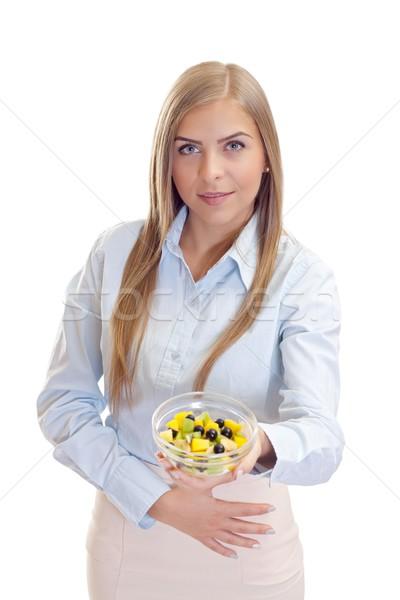 Vida saudável retrato bela mulher tigela salada de frutas Foto stock © ocskaymark