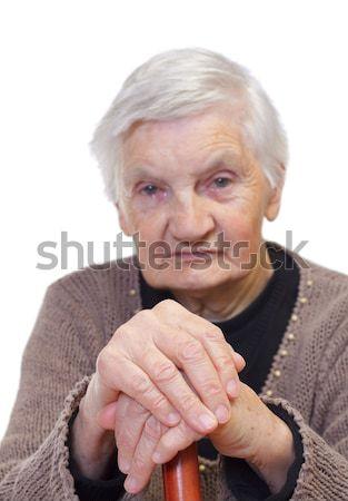 Idoso mãos retrato mulher isolado Foto stock © ocskaymark