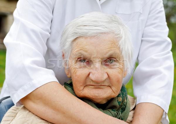 пожилого жизни инвалид женщину сидят коляске Сток-фото © ocskaymark
