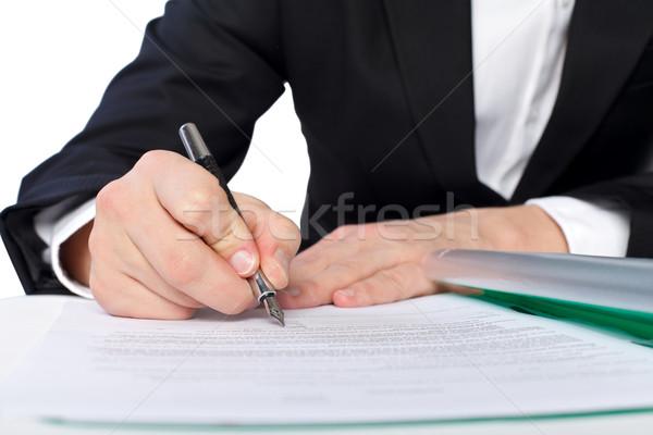 документа бизнесмен костюм подписания бизнеса работу Сток-фото © ocskaymark