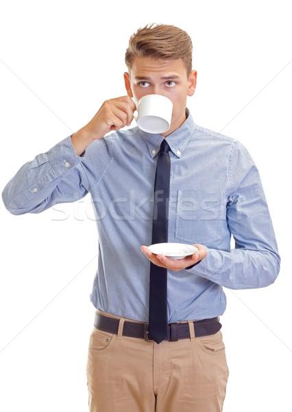 Manhã retrato empresário potável café Foto stock © ocskaymark