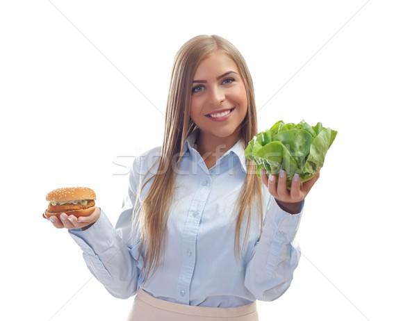 Egészséges élet gyönyörű nő választ egészséges étel nem egészségtelen étel Stock fotó © ocskaymark