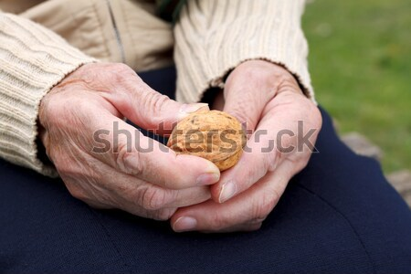 Yaşlı el eller ahşap Stok fotoğraf © ocskaymark