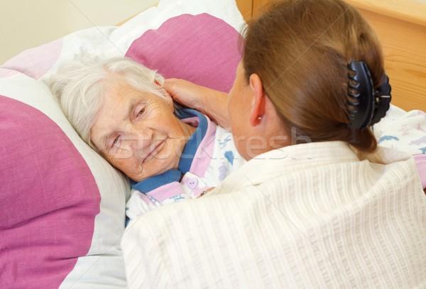 любви семьи дочь щека пожилого матери Сток-фото © ocskaymark