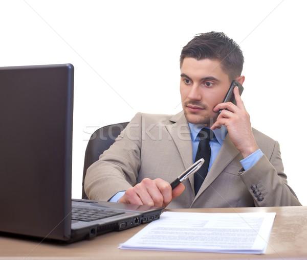 Empresário escritório retrato jovem isolado negócio Foto stock © ocskaymark